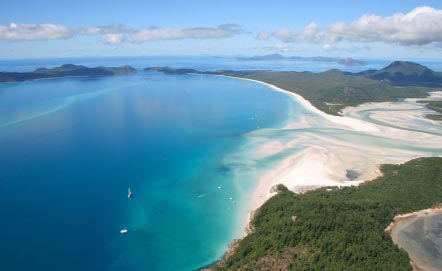 Aerial view of Whitehaven Beach on Whitsunday Island, Australia